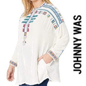 Johnny Was NWT Embroidered Velvet Blouse, XXL